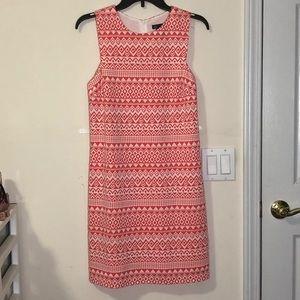 Aqua coral and white tribal print shift dress